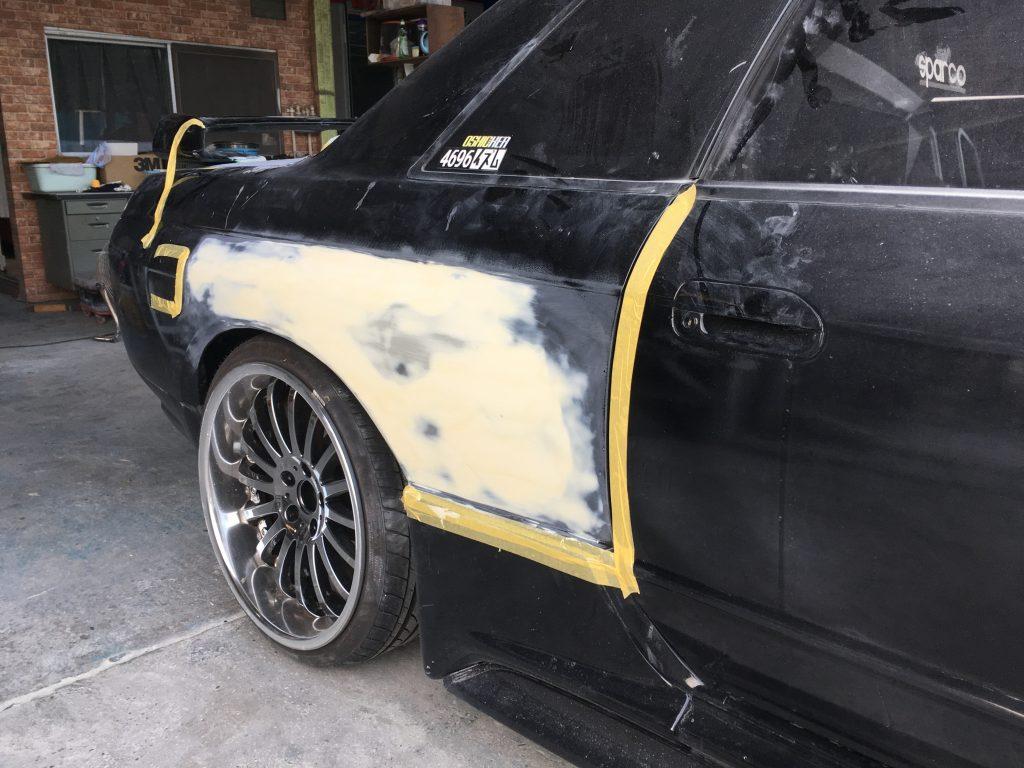 スカイライン 右側面板金修理